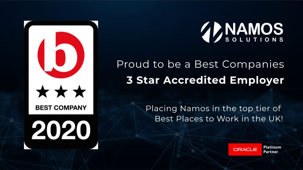 Best Companies To Work For 2020.Namos Solutions Achieves 3 Star Rating In Best Companies To