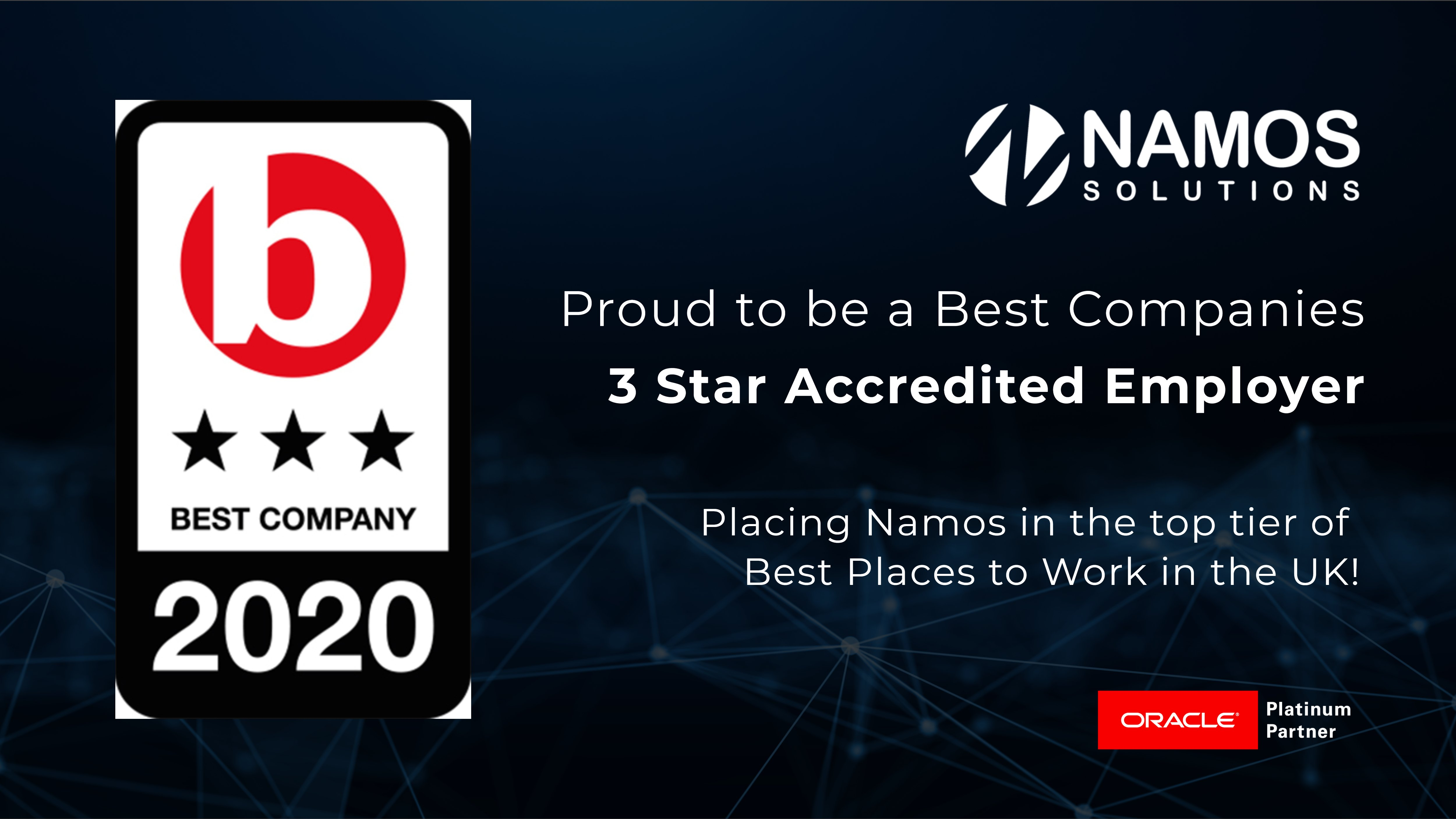 Namos Solutions Achieves 3-Star Rating In Best Companies To Work For 2020