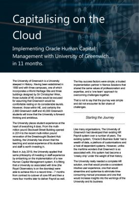 Capitalising on the Cloud - Implementing Oracle Human Capital Management with the University of Greenwich