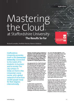 UKOUG Mastering the Cloud at Staffordshire University