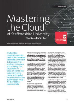 UKOUG Mastering the Cloud at Staffordshire University